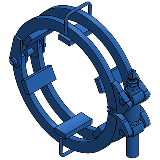 "Ratchet-style pipe clamp for 18"" Pipe"