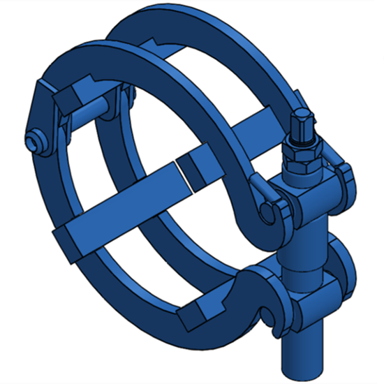 "Ratchet-style pipe clamp for 8"" Pipe"